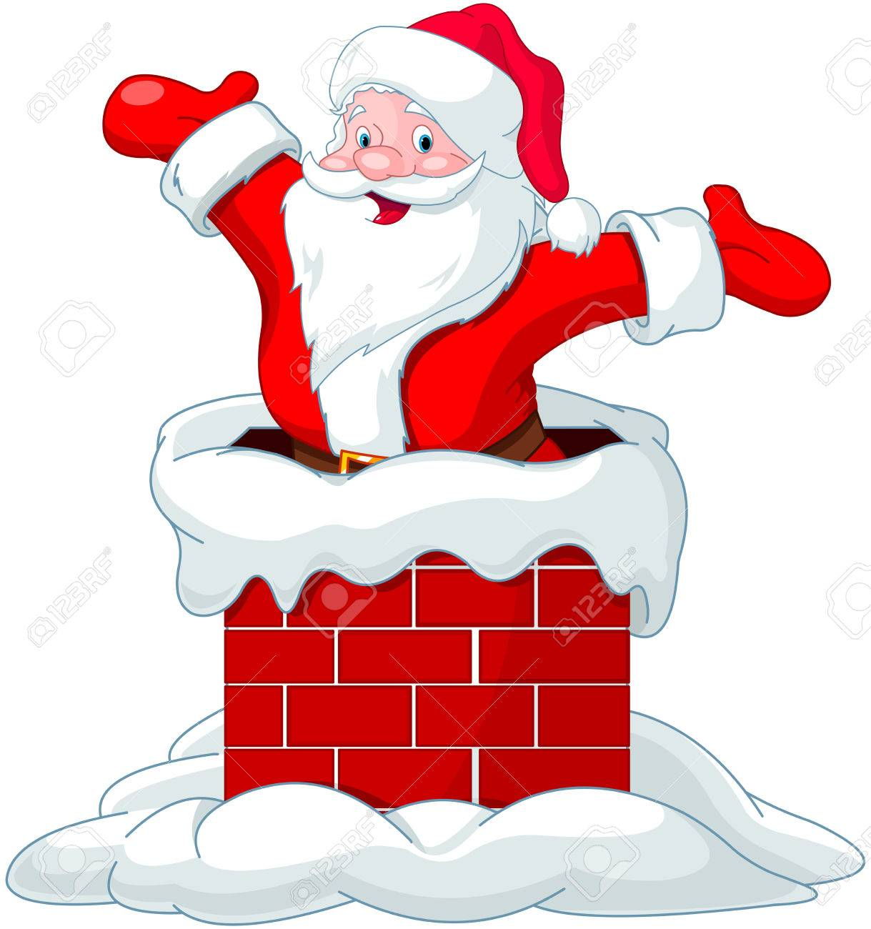 Happy Santa Claus jumping from chimney - 34436399