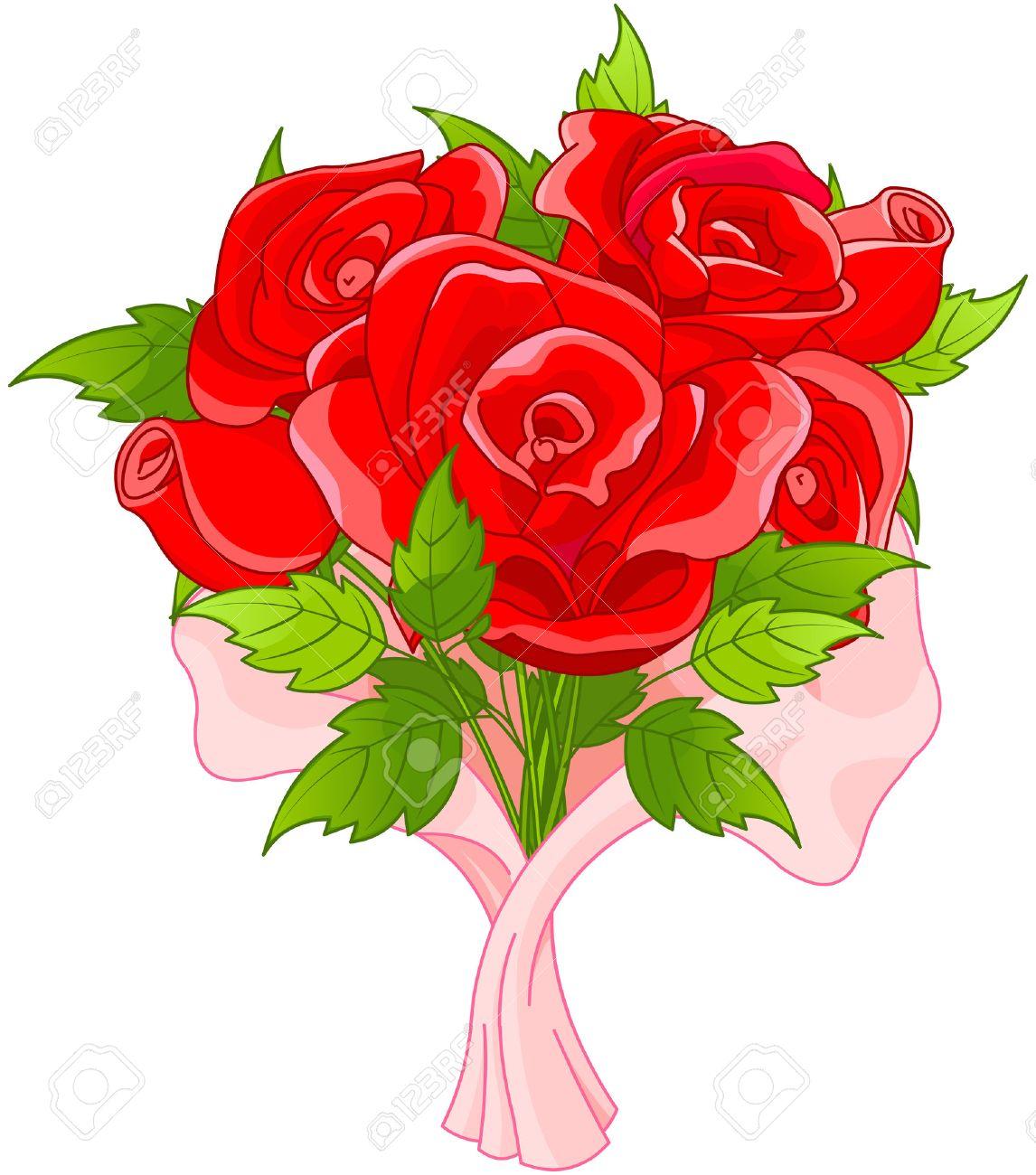 バラの花束のイラストのイラスト素材ベクタ Image 35597134