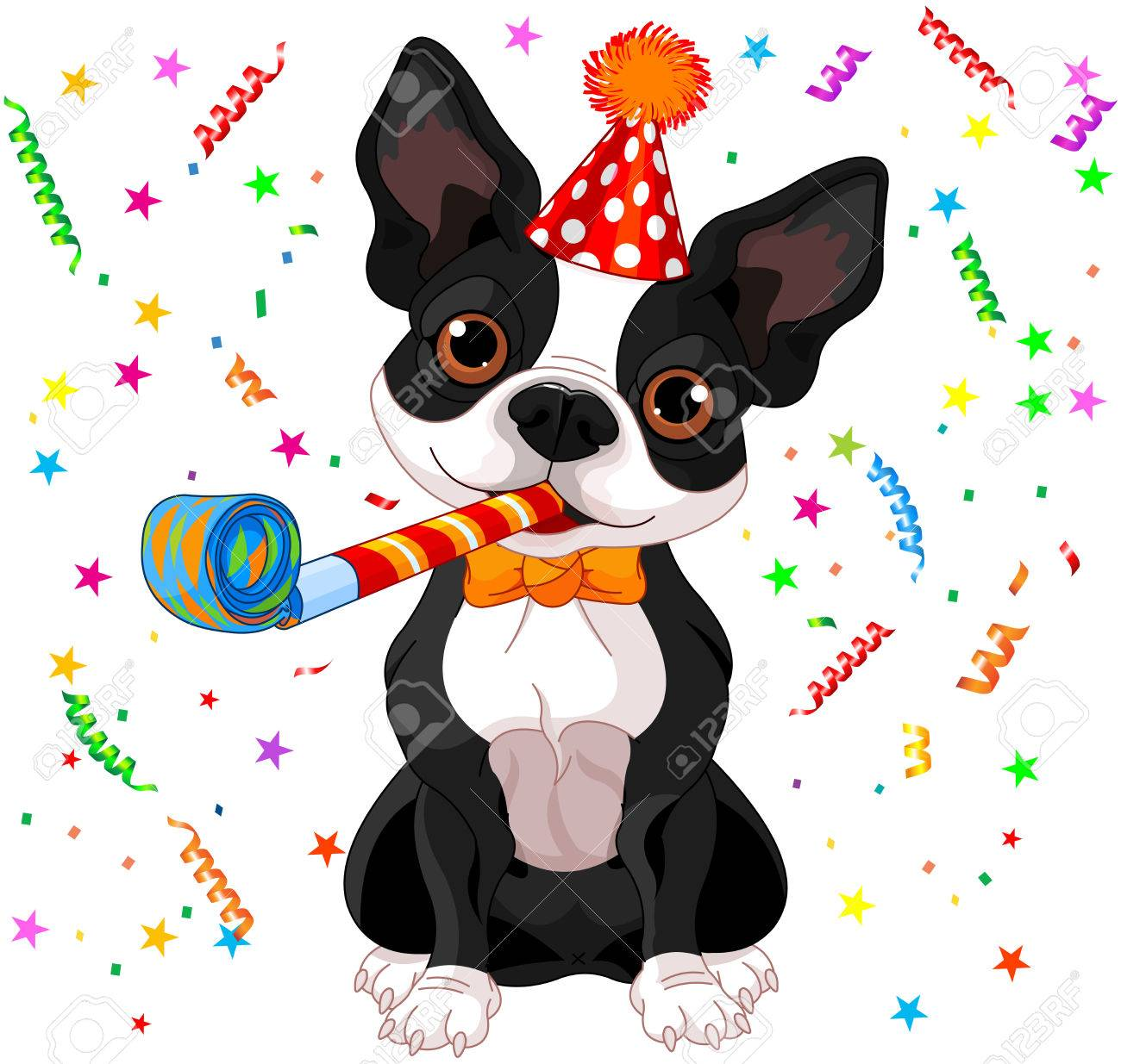 Aboiements/hurlement: absences, solitude/séparation - Page 23 35588778-illustration-of-cute-boston-terrier-celebrating