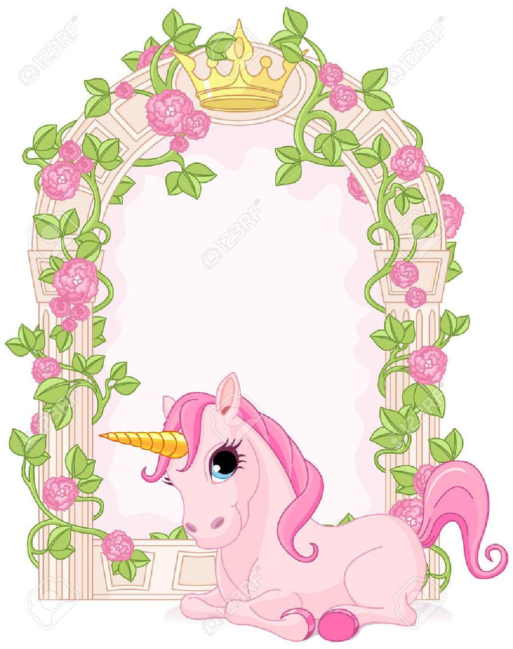 Marco Romántico Cuento De Hadas Floral Con Unicornio Ilustraciones ...