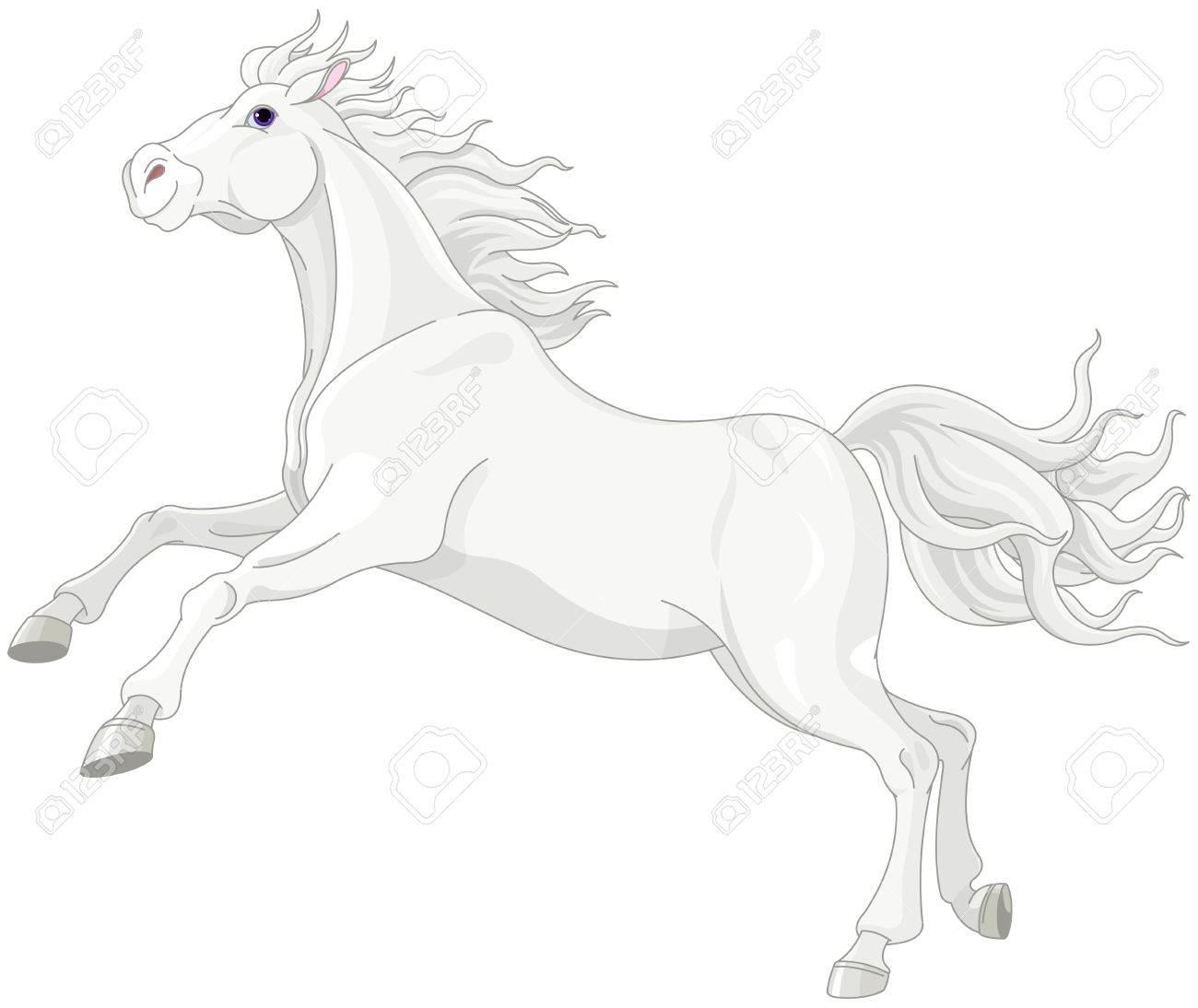 美しい白い馬のイラストのイラスト素材 ベクタ Image