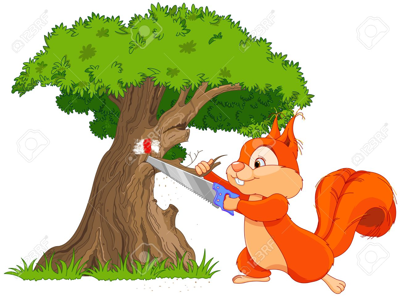 illustration of funny squirrel saws tree branch royalty free rh 123rf com Spring Word Clip Art Palm Clip Art