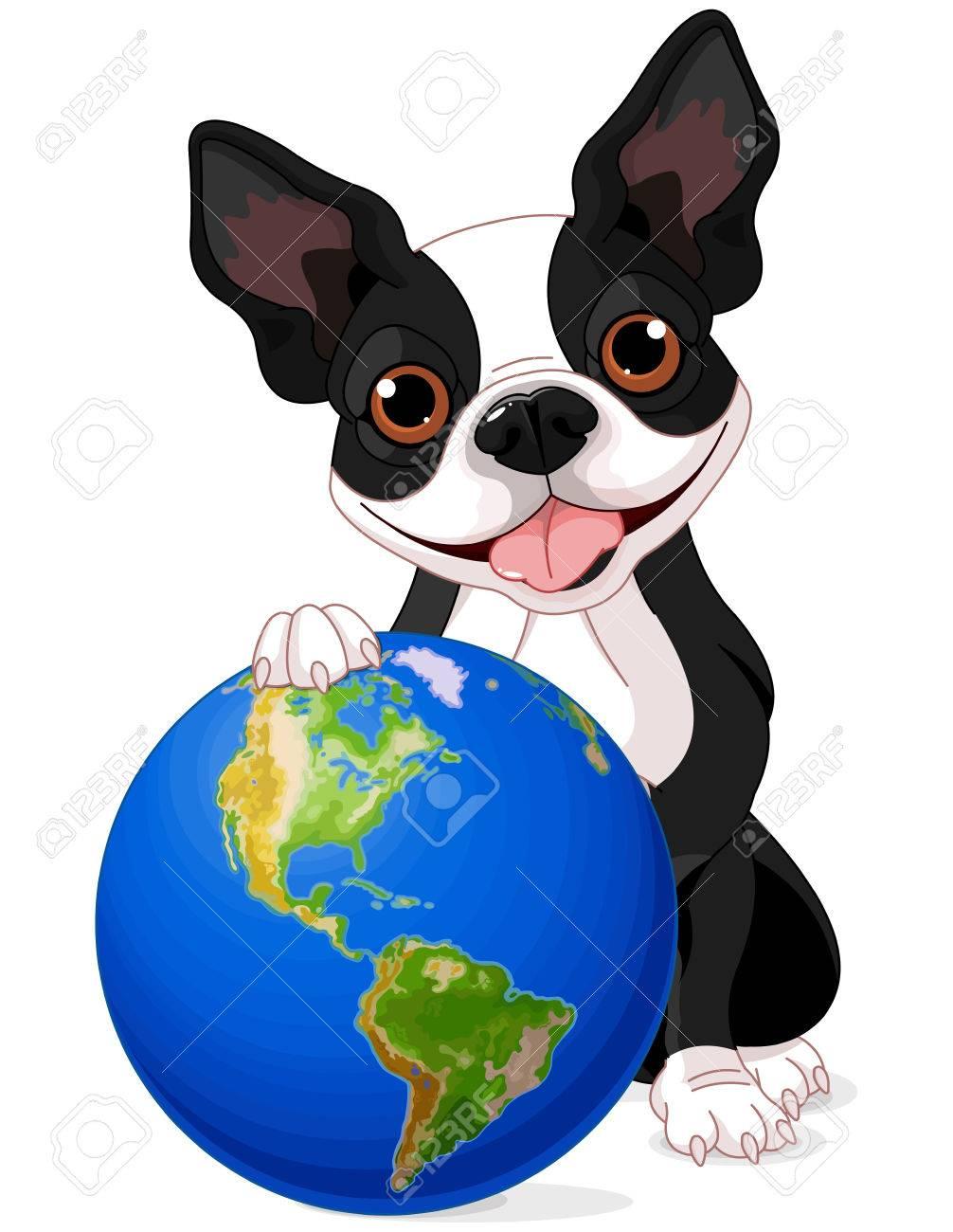 Boston Terrier Tiene La Tierra En Día De La Tierra Ilustraciones ...