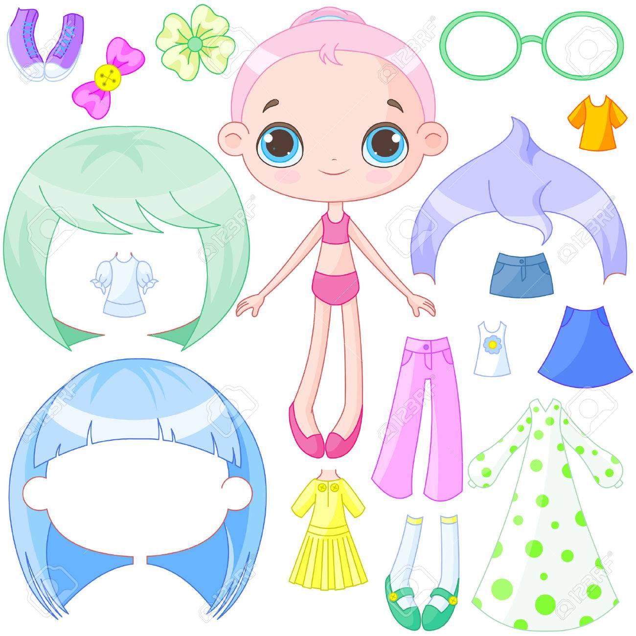 かわいい人形ドレスのイラストのイラスト素材ベクタ Image 39606121