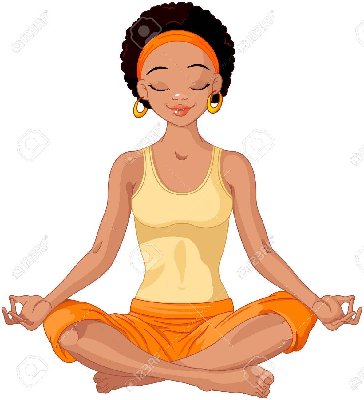 Beautiful Girl Doing Yoga Meditation Stock Vector