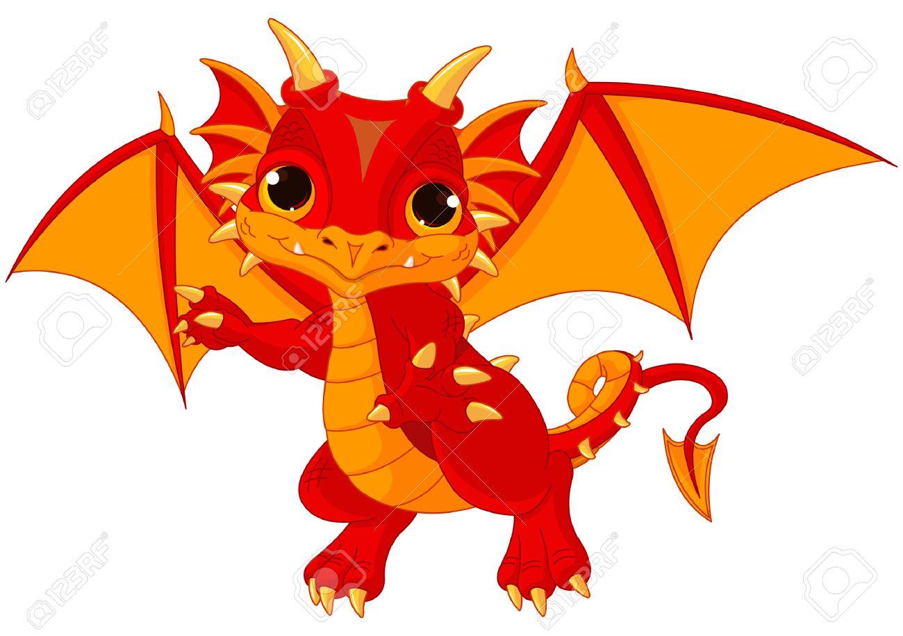 Illustration of cute cartoon baby dragon - 39940789
