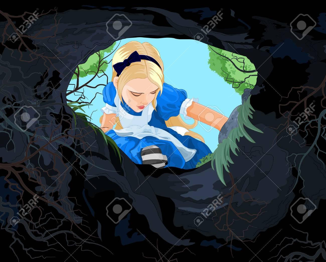 Illustration d'Alice qui cherchent à le trou lièvre Banque d'images - 42070367