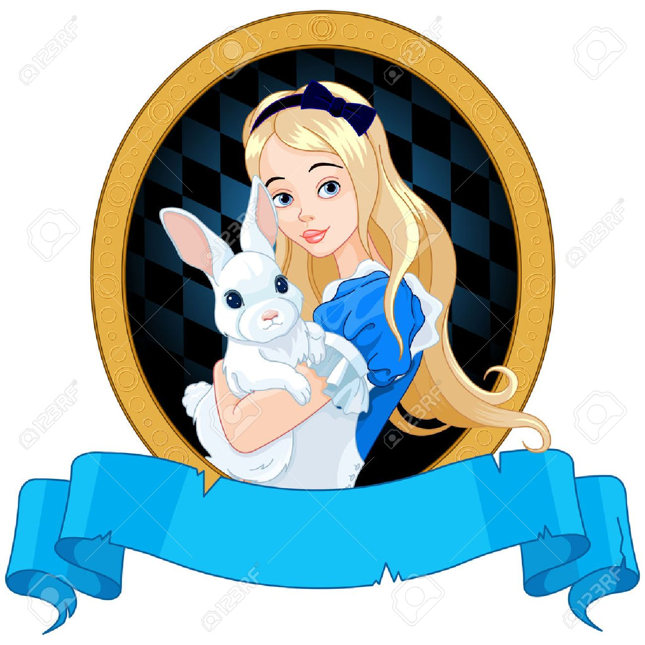 Illustration of Alice holds white rabbit Banque d'images - 43005187