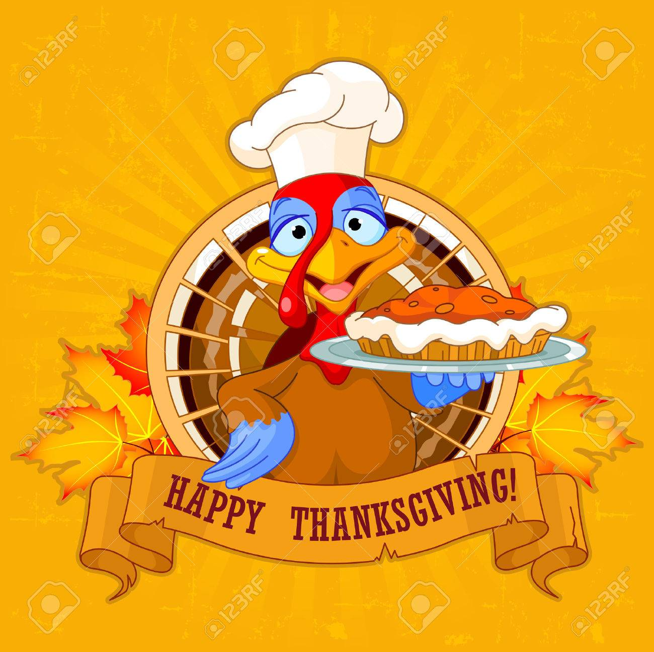 Thanksgiving Turkey servir tarte à la citrouille Banque d'images - 44350217