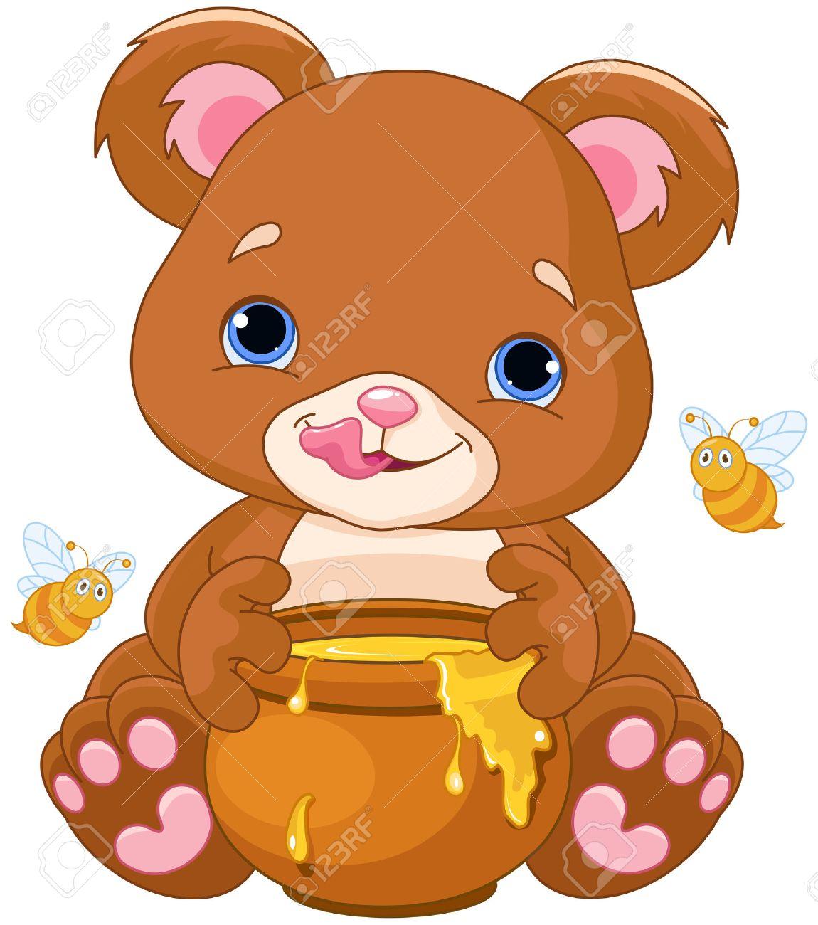 Illustration des ours mignon se préparant à manger du miel Banque d'images - 45287564