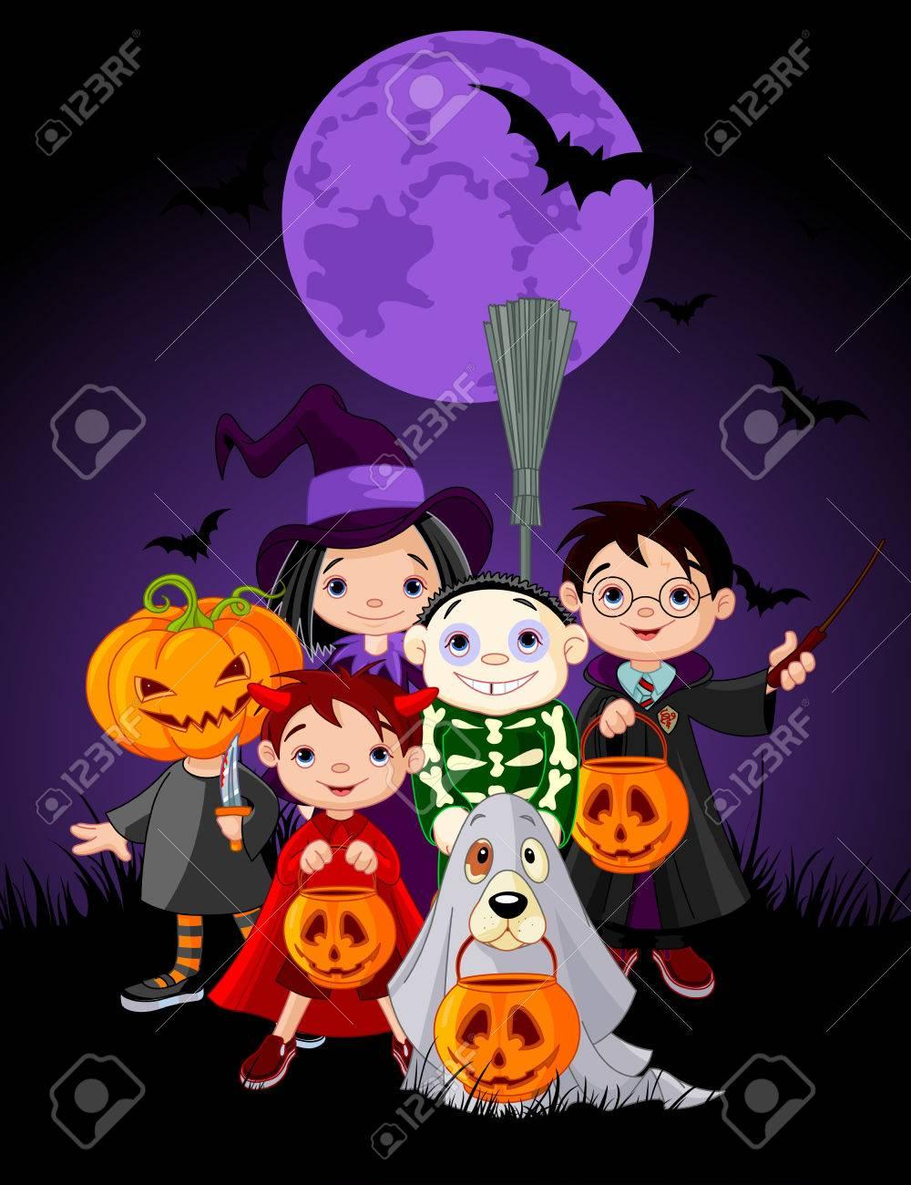 Enfants Halloween Halloween en costume d'Halloween Banque d'images - 45819917