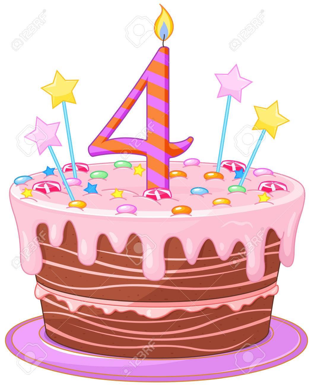飾られたバースデー ケーキのイラストのイラスト素材ベクタ Image