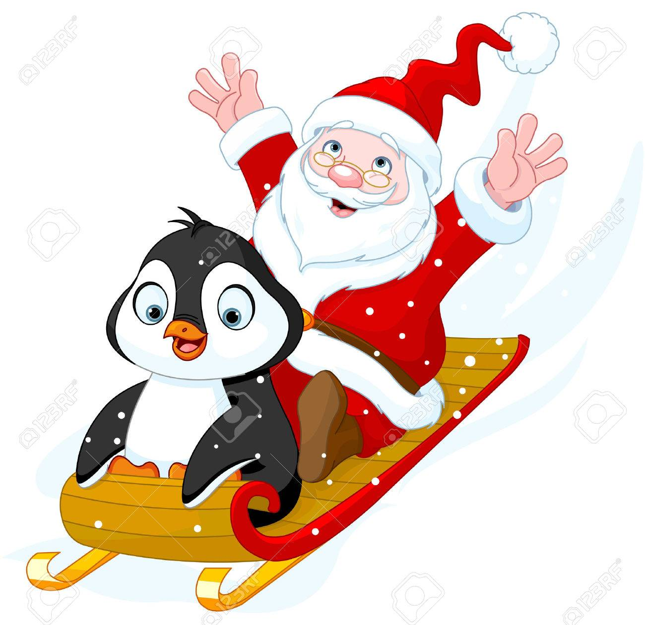 Illustration of Santa Claus and Penguin in sled Banque d'images - 46756124