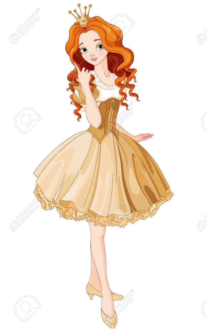 Illustration de la belle princesse habillée robe or Banque d'images - 48171098