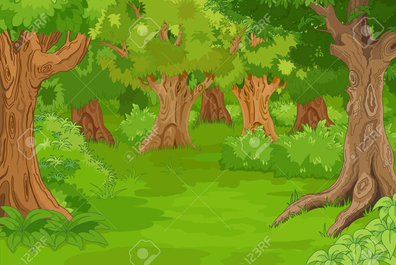 Illustration of amazing forest glade - 48171101