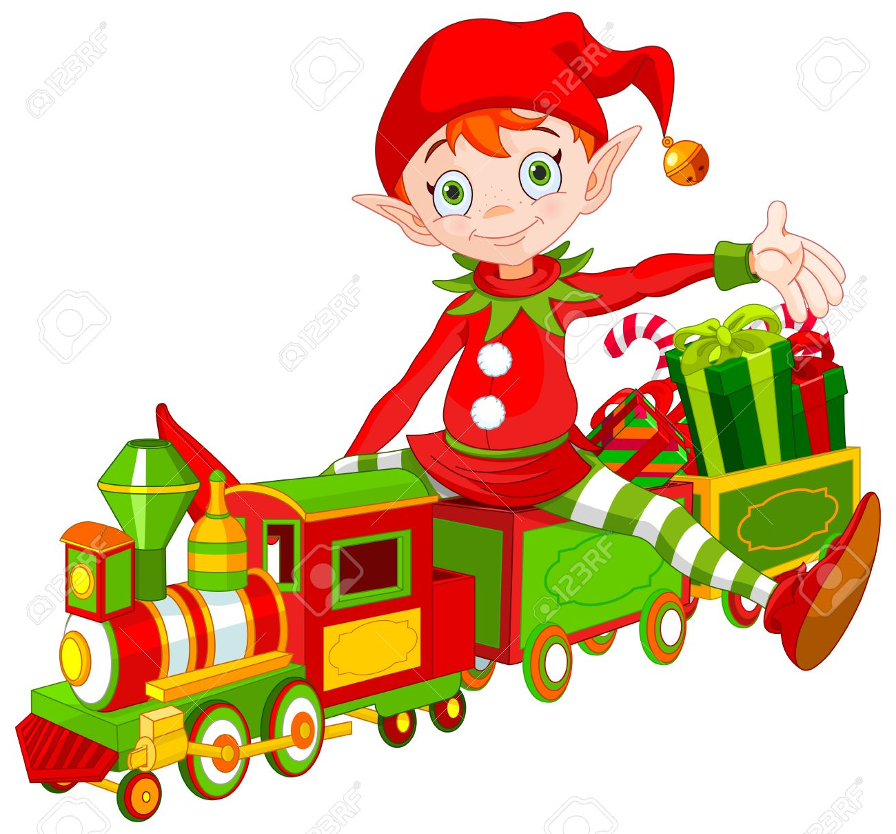 Illustration of cute Christmas elf sits on toy train - 49802029