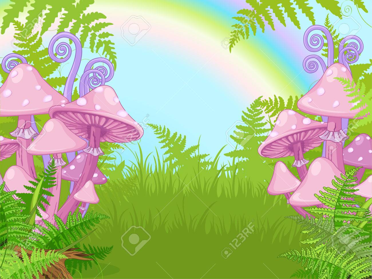 Fantasy landscape with mushrooms, fern, rainbow - 51376297