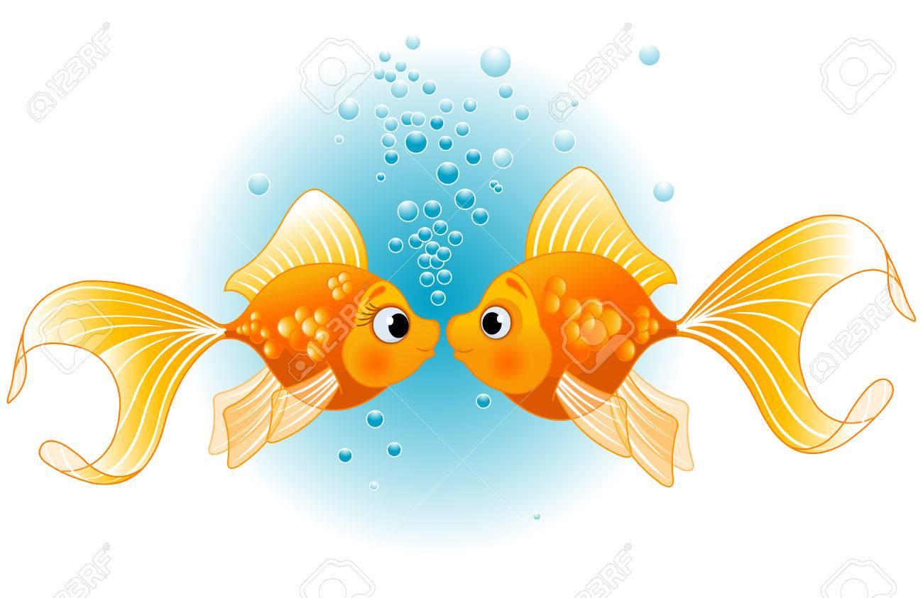 Deux poissons d'or dans l'amour avant baiser Banque d'images - 52404257