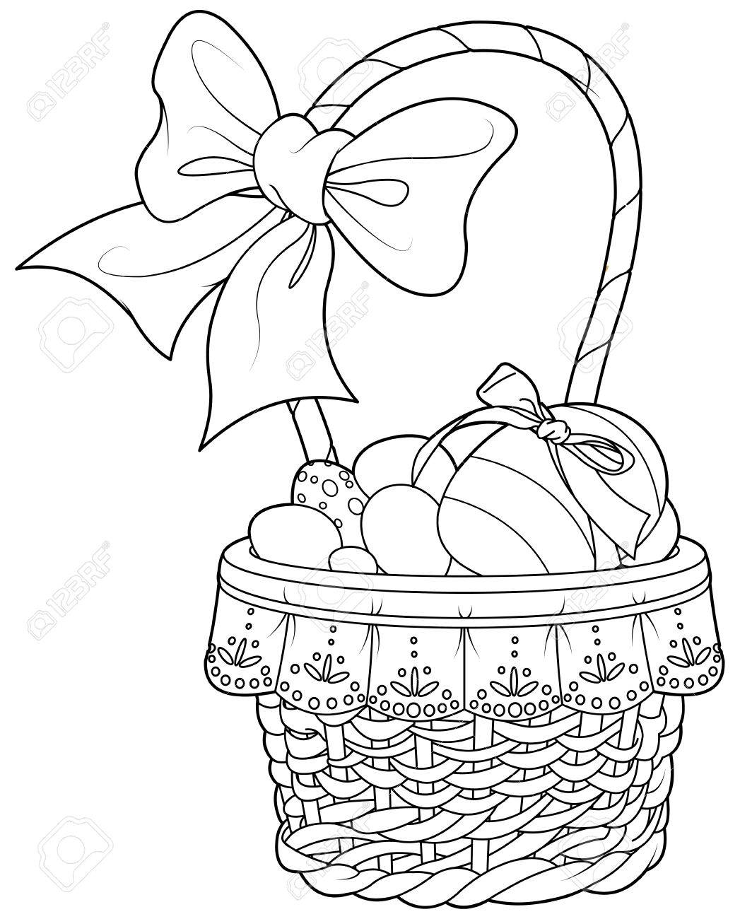 Coloring Page Pretty Easter Basket Full Of Eggs Stock Vector