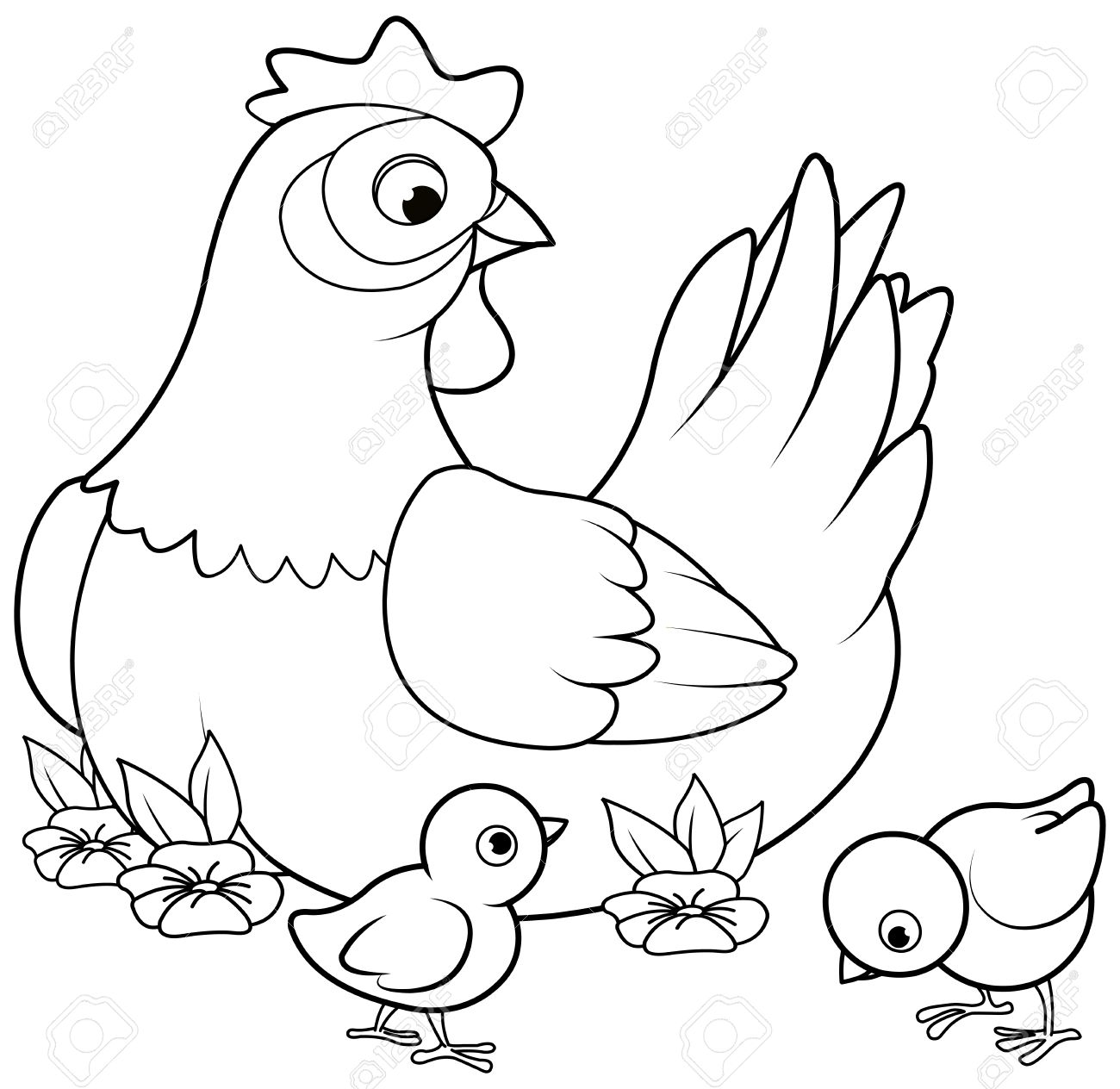 coloring page of mother hen with its baby royalty free