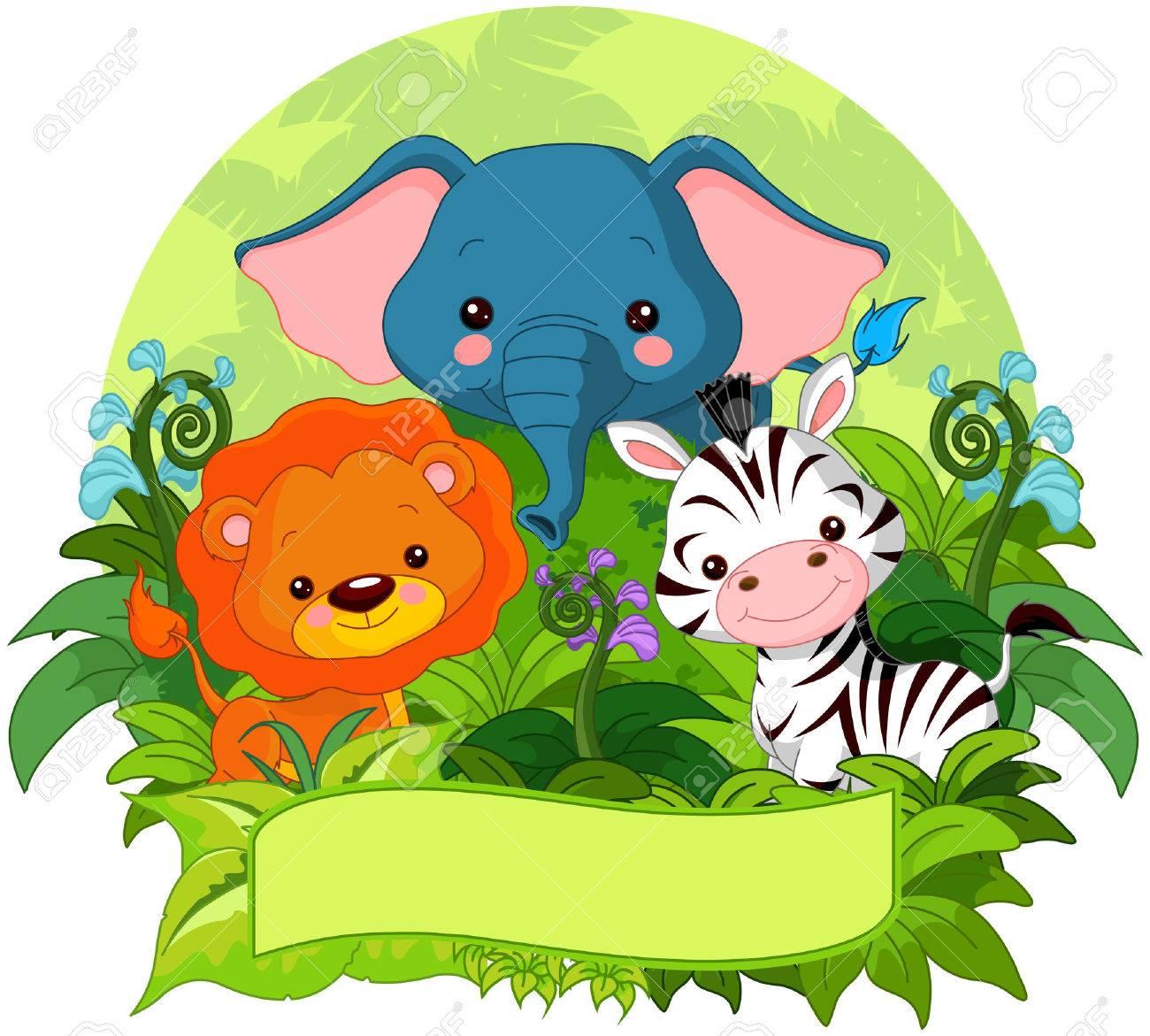 かわいいジャングルの動物自然の背景のイラストのイラスト素材ベクタ