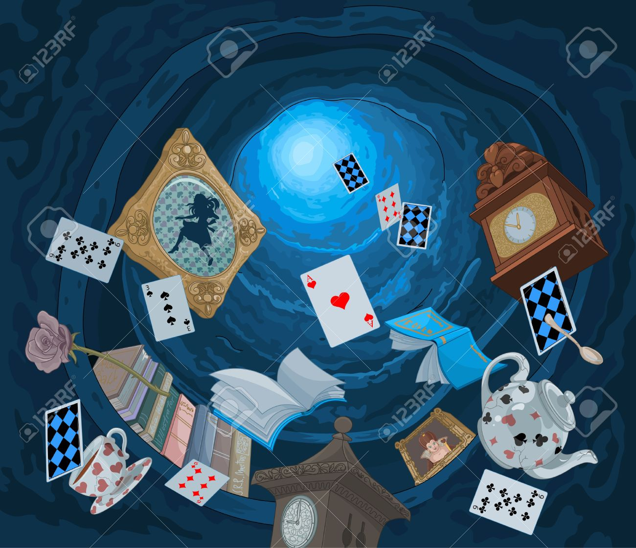 Abstract background of objects falling down in rabbit hole - 59842388