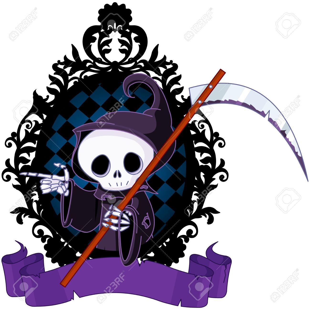 かわいい漫画死神鎌を指すとのイラスト素材ベクタ Image 63949719