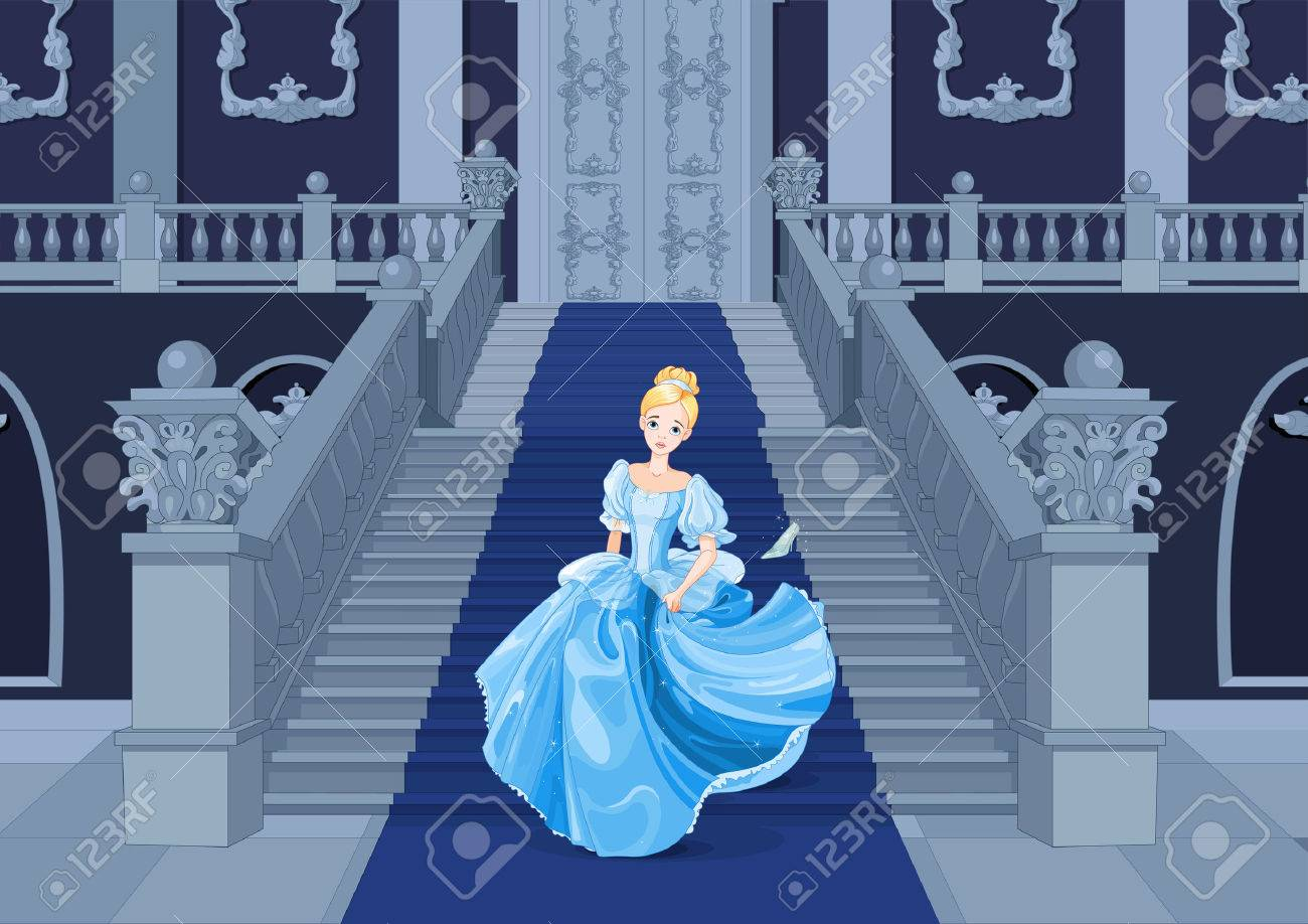 Illustration of girl with gown runs away Banque d'images - 61407603