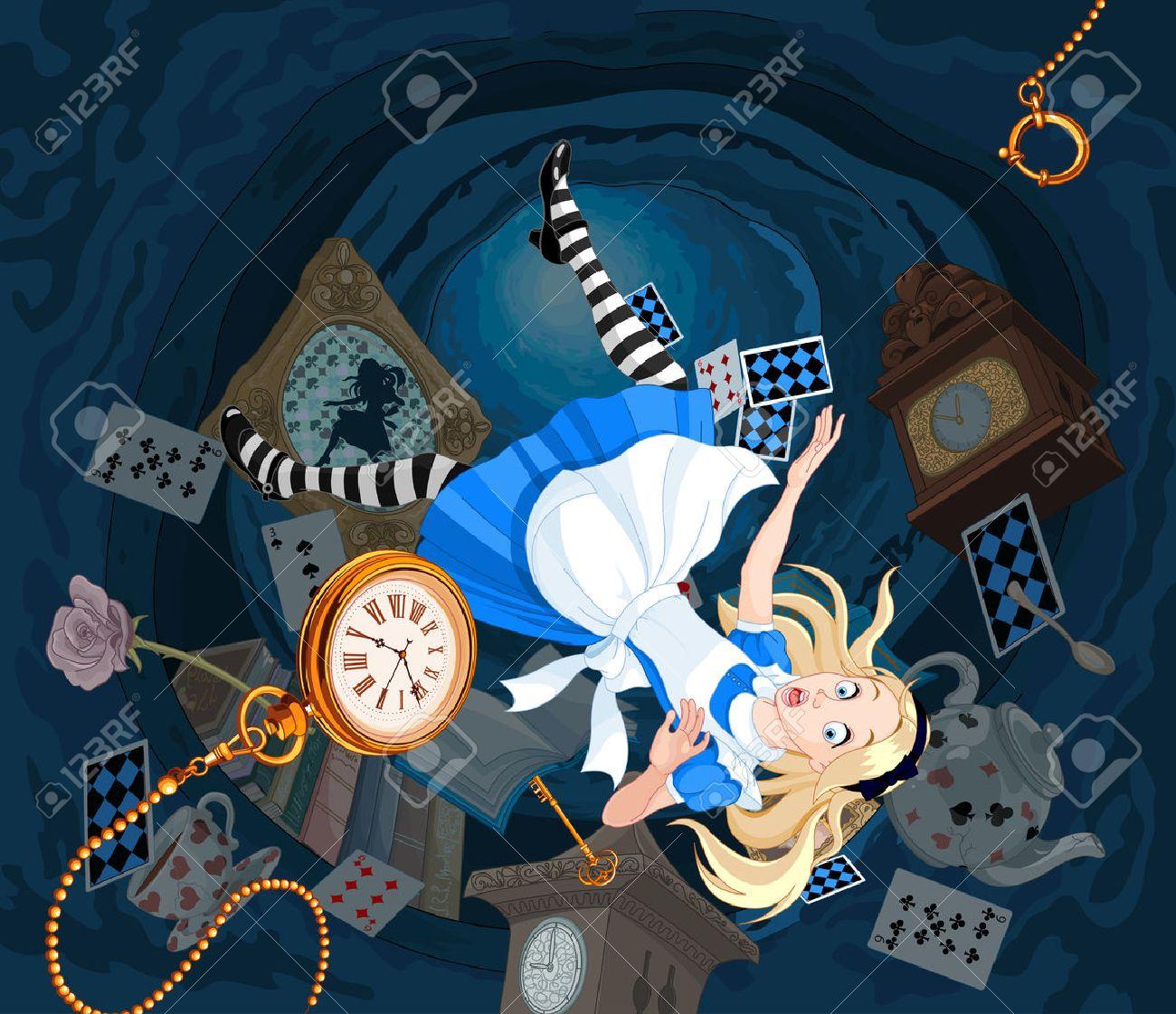 Alice est en train de tomber dans le trou de lapin Banque d'images - 64105780