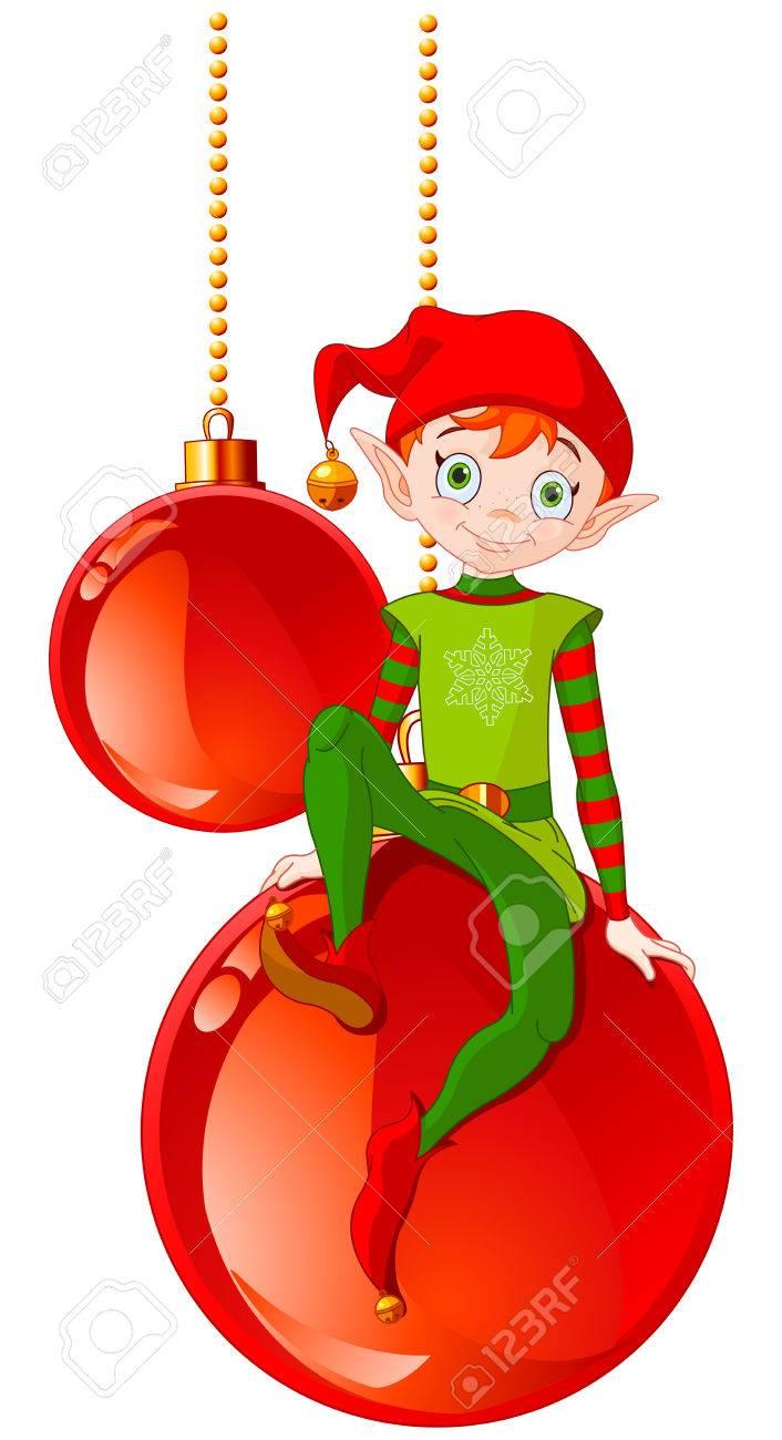 Christmas Elf sitting on Christmas ball - 66970847