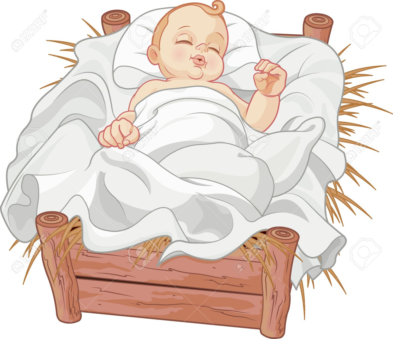 Baby Jesus Asleep In A Christmas Nativity Crib Royalty Free Cliparts