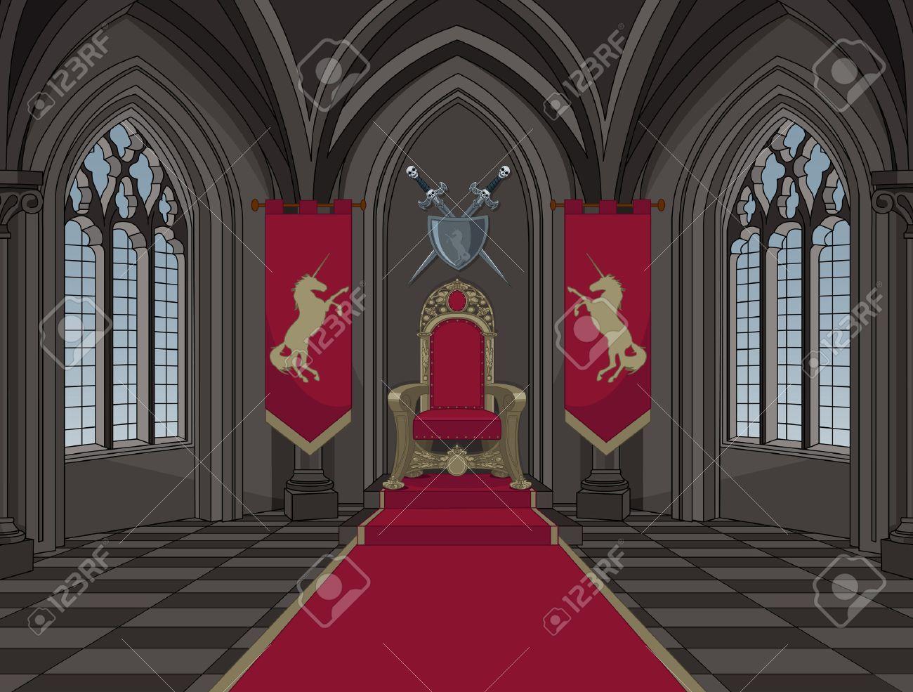 Illustration of medieval castle throne room Banque d'images - 69004071