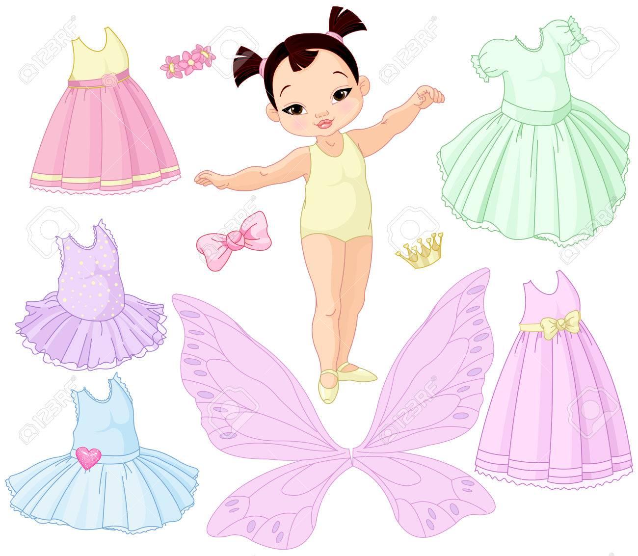 Muñeca De Niña De Papel Con Diferentes Vestidos De Hadas, Ballet Y ...