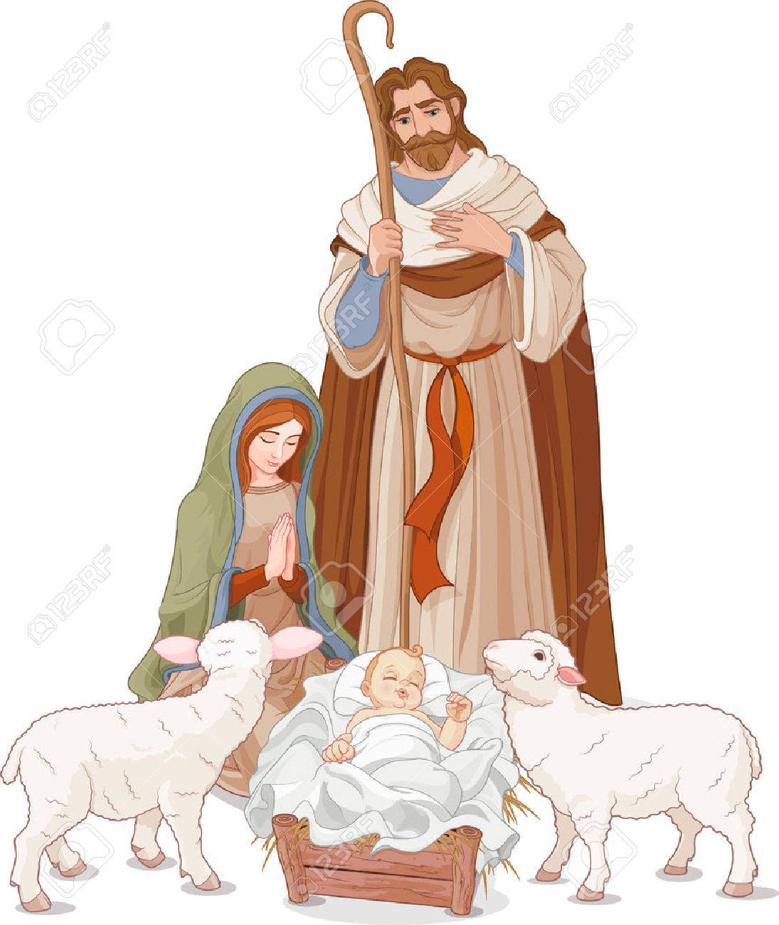 Christmas nativity scene with Mary, Joseph and baby Jesus Banque d'images - 67409736