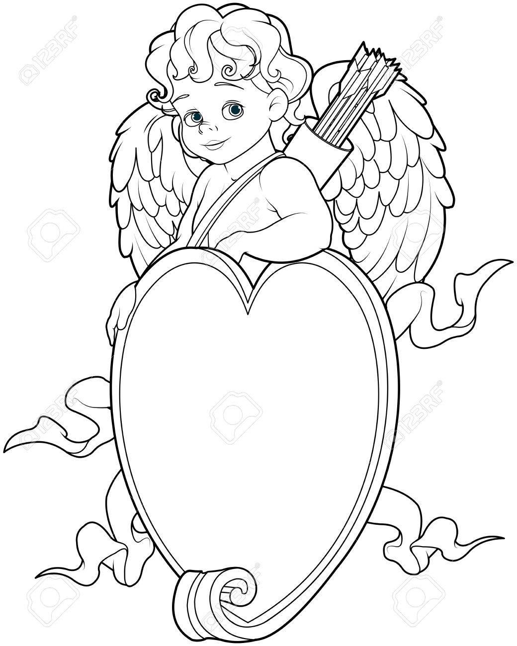 Dibujo Para Colorear De Cupido Bebé Sobre Una Muestra En Forma De ...