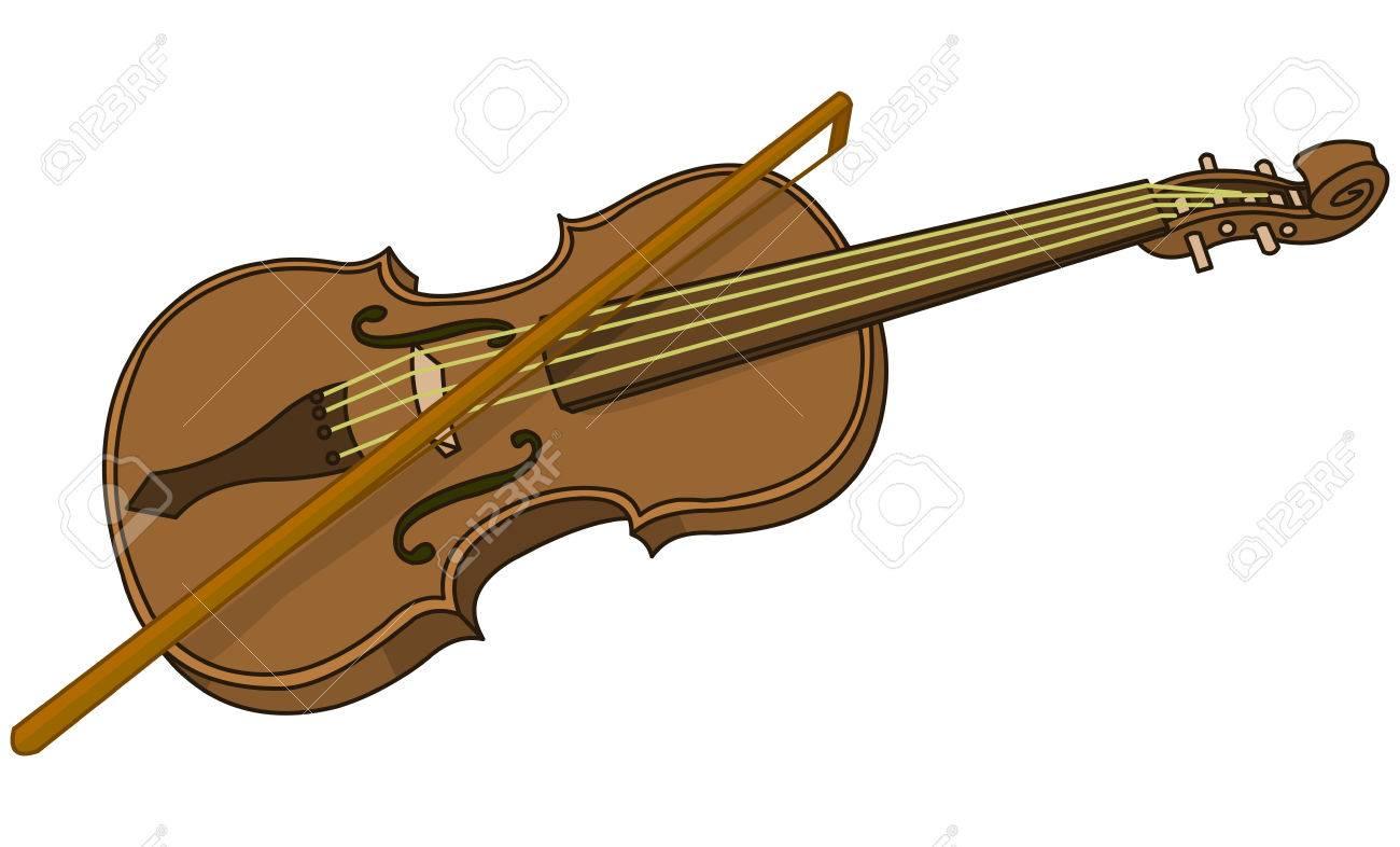illustration of cartoon violin and bow royalty free cliparts rh 123rf com cartoon violin drawing cartoon violin player