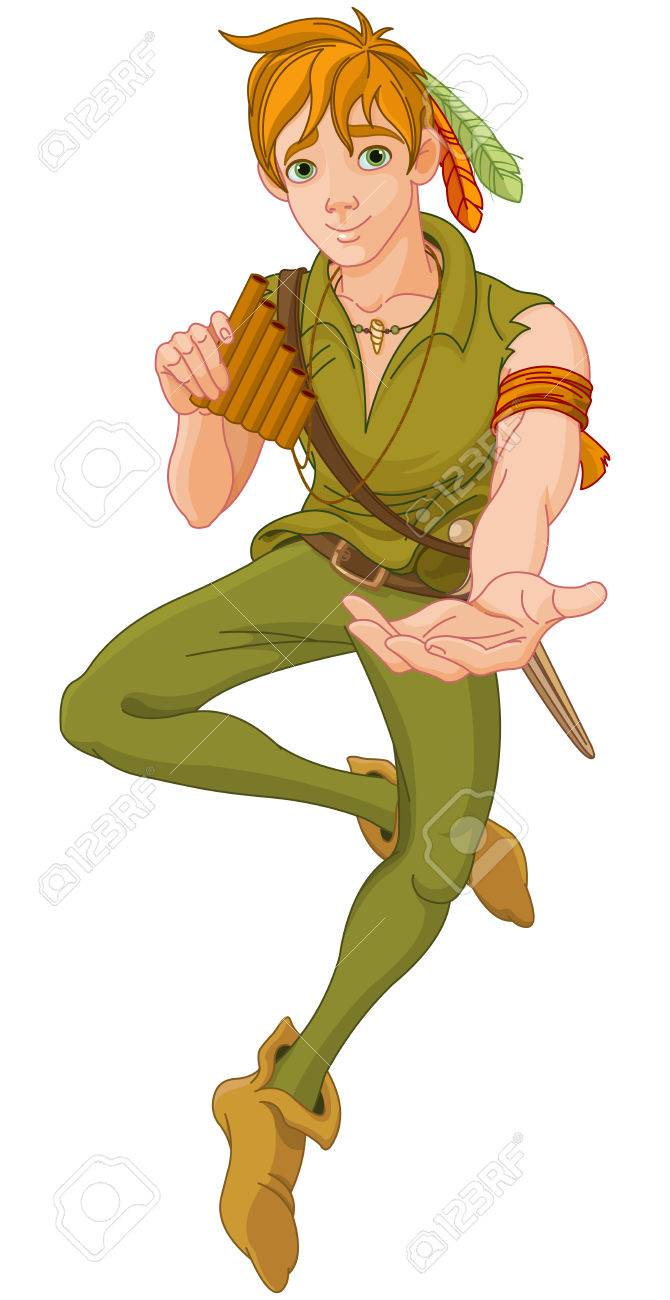 boy wearing peter pan costume extends a hand royalty free cliparts