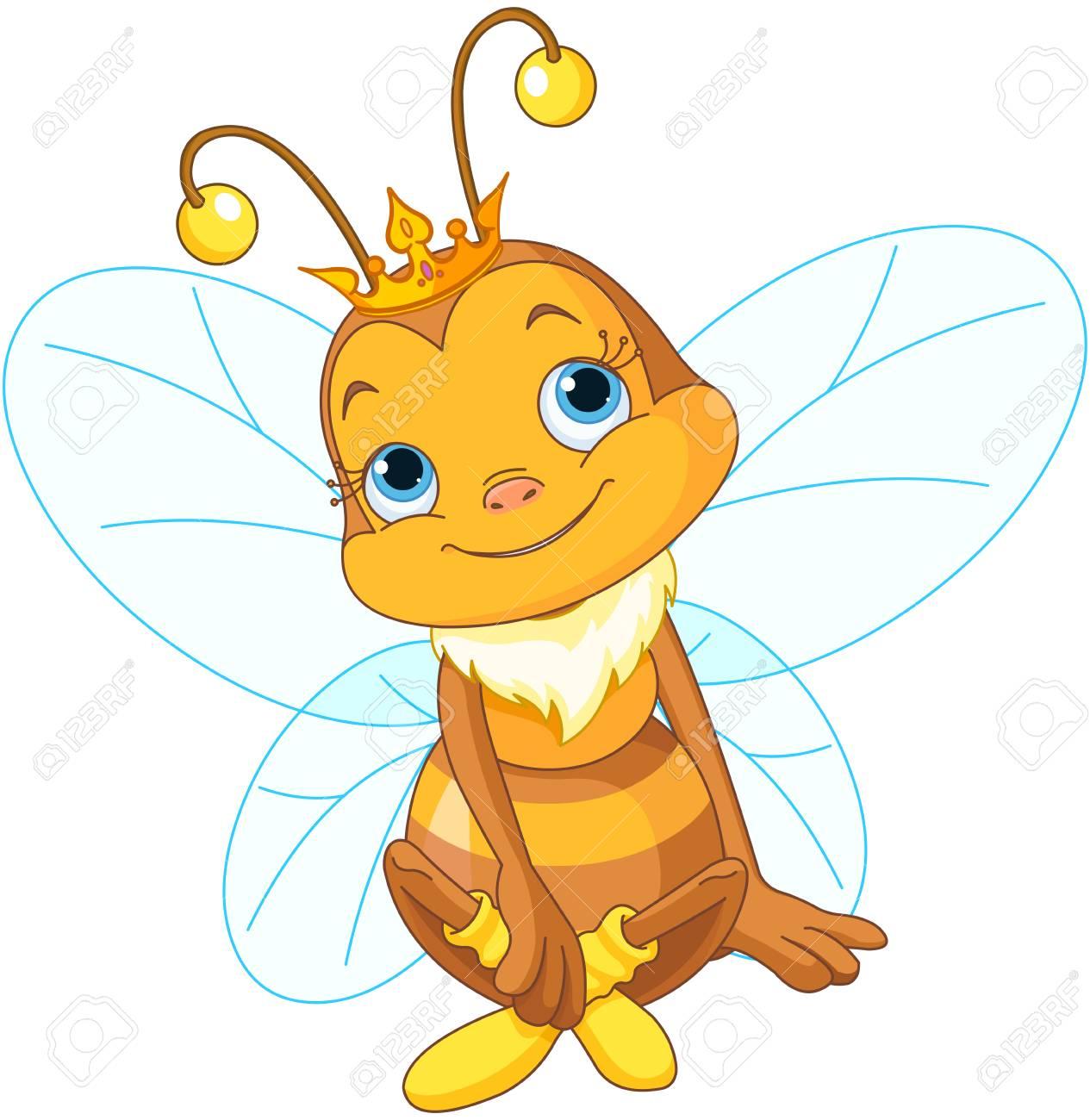 かわいい女王ミツバチのイラストのイラスト素材 ベクタ Image