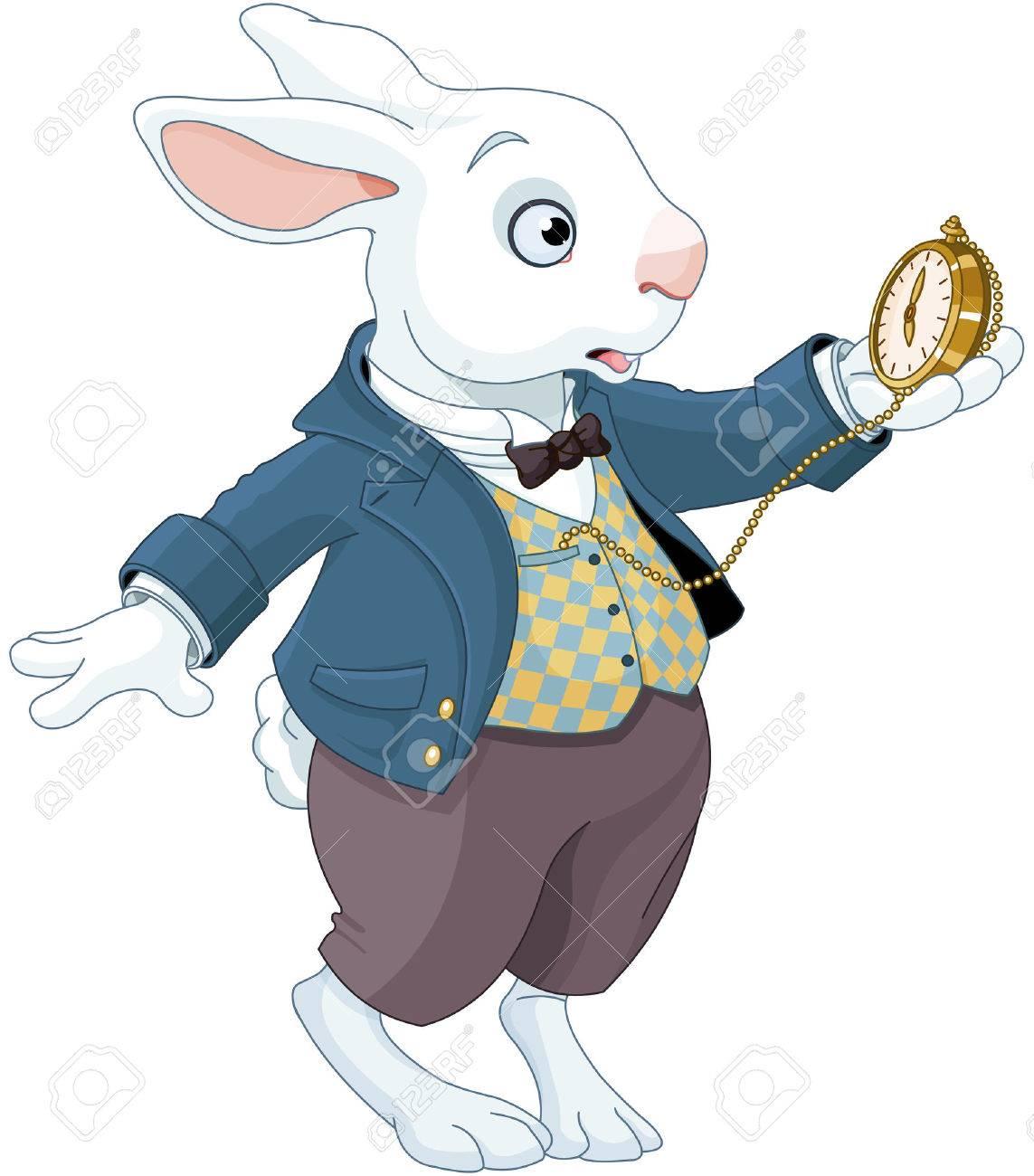 Illustration of white rabbit holds watch - 82157557