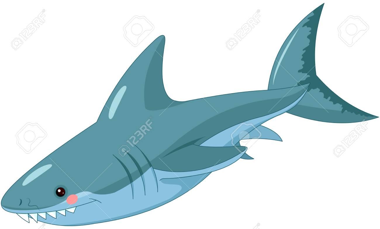 Illustration of cute shark. - 91015602