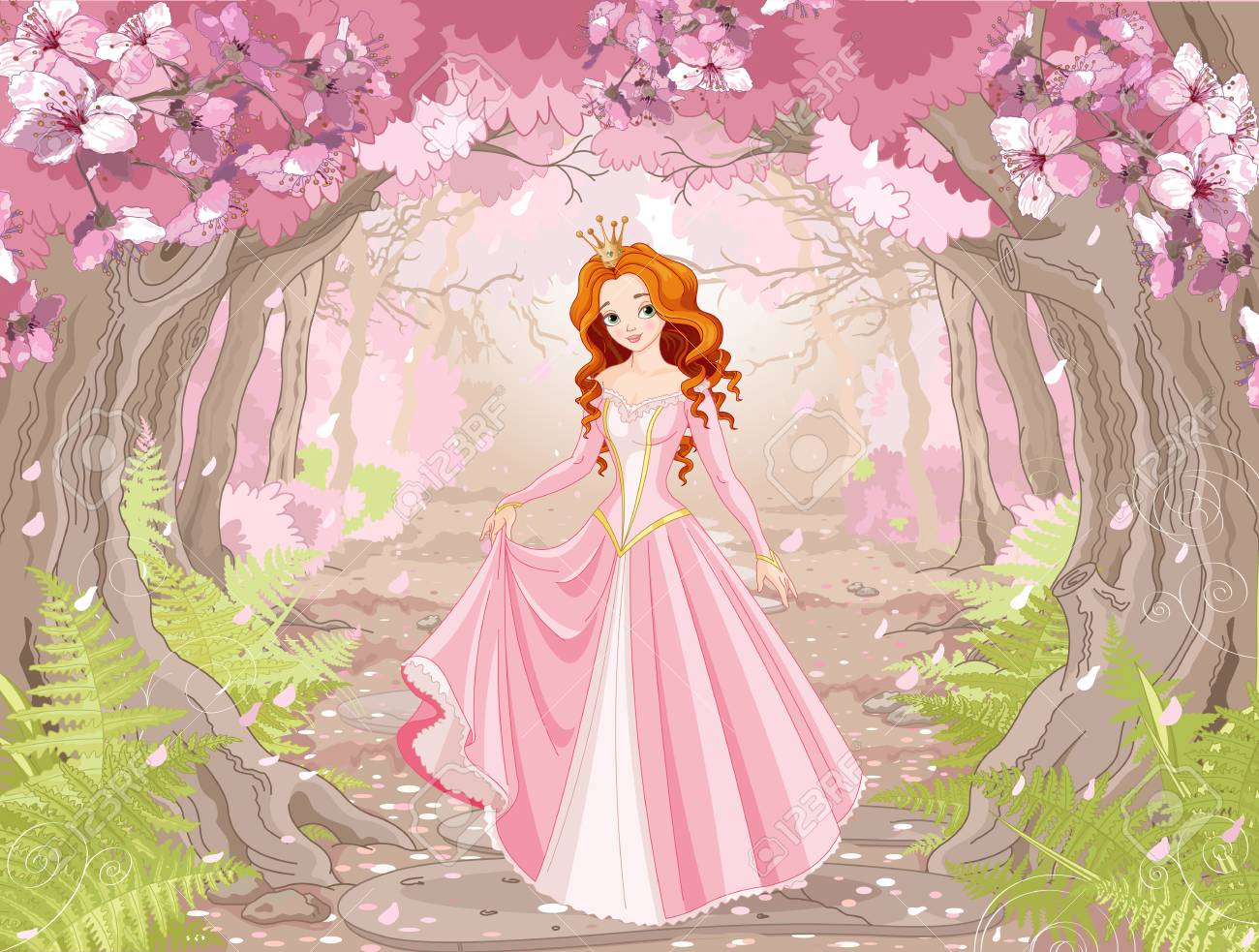 Illustration of beautiful red haired princess on spring forest background - 97042469