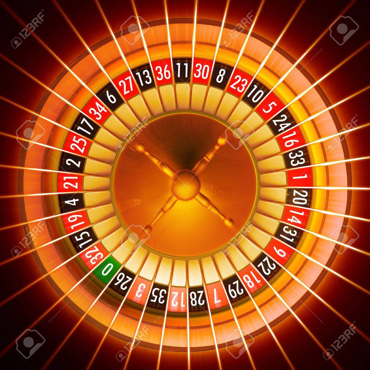 3D illustration of roulette with light rays effect added Stock Illustration - 2362788