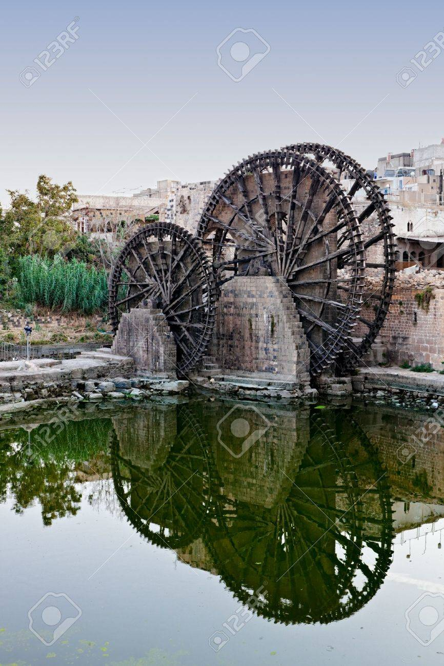 Hama (ancient Hamath). Part of 17 ancient wooden norias (1100 BC) on Orontes River used for watering the gardens - 6009832