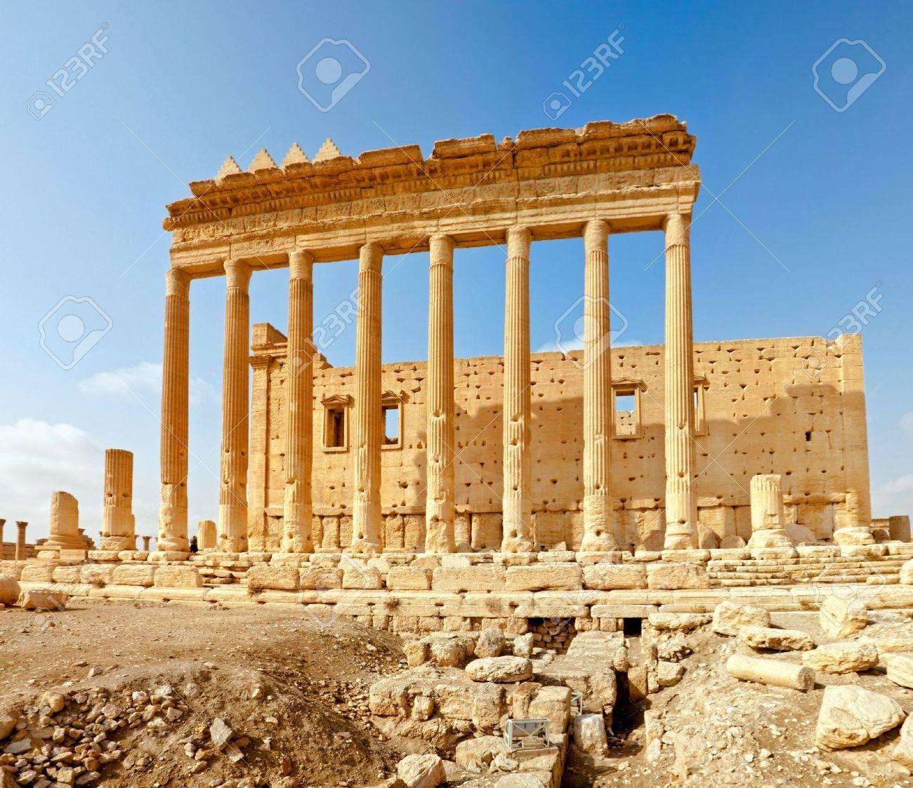 Ancient Roman time town in Palmyra (Tadmor), Syria. Greco-Roman & Persian Period. Temple of Bel. - 6078303