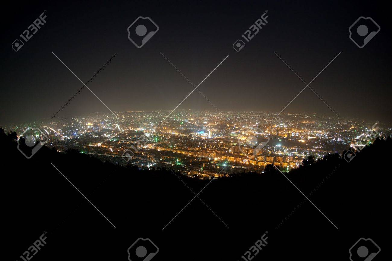 Panorama of Damascus from mountain Kasun. Green lights are mosques. - 6077783