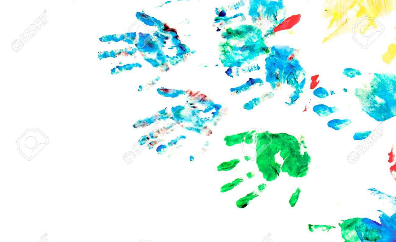 Children hand prints with toys on hand painting playground. On white - 6503622