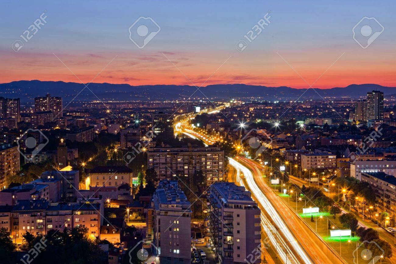 Panorama of the Zagreb capitol of Croatia. Long exposure. - 7899635