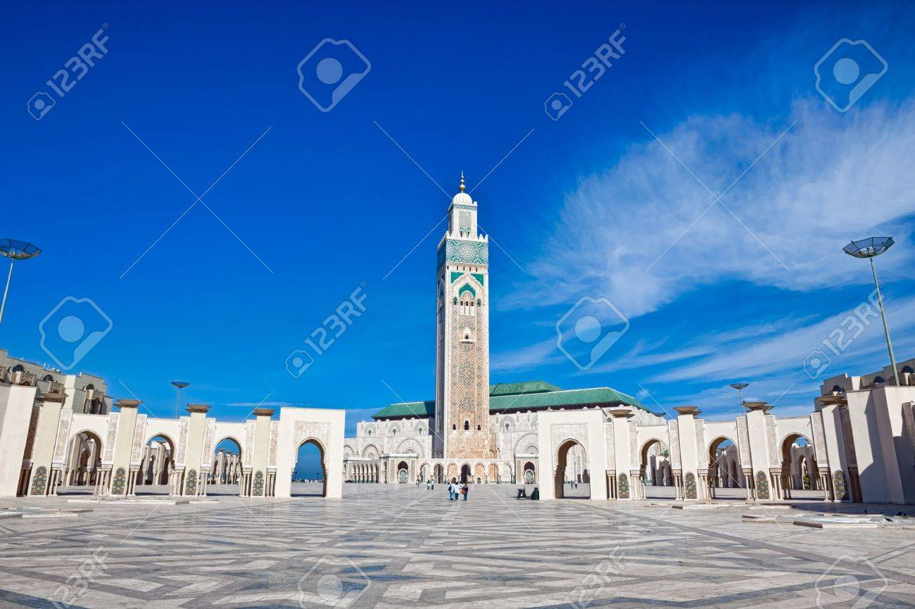 Exterior of Hassan II mosque with blue sky and cloudscape background, Casablanca, Morocco. - 8426046