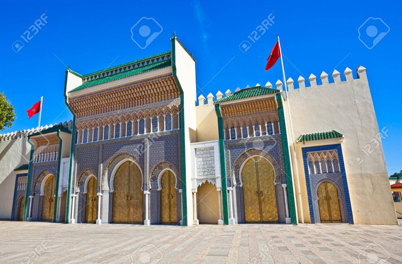 Old Golden Doors of the Royal Palace in Fes, Morocco. - 9228281