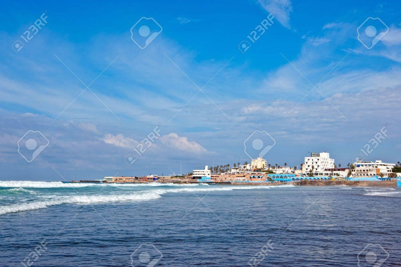 View of the Casablanca coast, Morocco. - 10639480